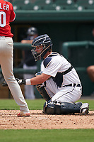 Detroit Tigers catcher Dillon Dingler (9) during a Minor League Spring Training game against the Philadelphia Phillies on April 17, 2021 at Joker Marchant Stadium in Lakeland, Florida.  (Mike Janes/Four Seam Images)