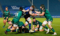 2nd January 2021; RDS Arena, Dublin, Leinster, Ireland; Guinness Pro 14 Rugby, Leinster versus Connacht; Dan Leavy of Leinster is tackled by Alex Wootton and Sean Masterson of Connacht