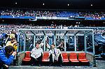 Netherlands, 15-05-1991, Rotterdam, Stadion de Kuip, Finale EuropaCup 2, Barcelona-Manchester United 2-1. Trainer Johan Cruijff zit in de dug out voor de wedstrijd naast Carlos Rexach.<br /> foto Michael Kooren.