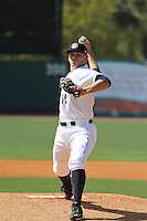 Charleston RiverDogs pitcher Rookie Davis #34 on the mound during a game against the Greenville Drive at Joseph P. Riley Jr. Ballpark  on April 9, 2014 in Charleston, South Carolina. Greenville defeated Charleston 6-3. (Robert Gurganus/Four Seam Images)