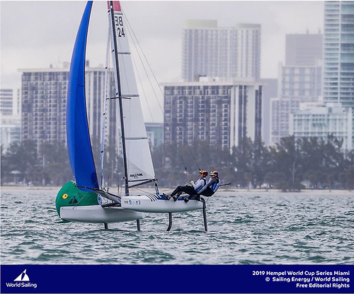 Cecilia Wollmann, 23 - seen here racing a Nacra 17 - is an example of how sailing is perhaps becoming more 'gender invisible' for the younger generation