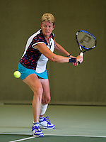 Hilversum, The Netherlands, 05.03.2014. NOVK ,National Indoor Veterans Championships of 2014 Sylvia Lievers-Kronenburg (NED)<br /> Photo:Tennisimages/Henk Koster