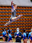 February 19, 2021: North Carolina's Elizabeth Culton competes on the beam for a meet high score of 9.925 during the 2nd Annual George McGinty Alumni Meet at the SECU Arena at Towson University in Towson, Maryland. Scott Serio/Eclipse Sportswire/CSM