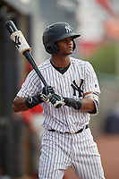GCL Yankees East Sandy Mota (11) on deck during a Gulf Coast League game against the GCL Phillies East on July 31, 2019 at Yankees Minor League Complex in Tampa, Florida.  GCL Phillies East defeated the GCL Yankees East 4-3 in the second game of a doubleheader.  (Mike Janes/Four Seam Images)