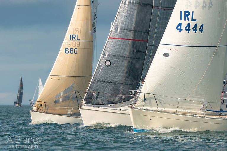 Neck-and-neck in IRC3 at Howth on Saturday – the J/24 Kilcullen (HYC-U25), the Laser 28 Alliance II (Vincent Gaffney) and the 2021 Irish Sigma 33 Champion Insider (S & D Mullaney)