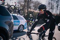 Greg Van Avermaet (BEL/BMC) returning to the peloton well wrapped up against the freezing temperatures<br /> <br /> 70th Kuurne-Brussel-Kuurne 2018<br /> Kuurne › Kuurne: 200km (BELGIUM)