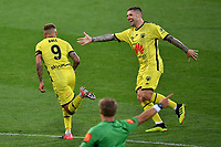 15th March 2020, Wellington, New Zealand;  Phoenix's David Ball celebrates a goal with team mate Gary Hooper during the A-League - Wellington Phoenix versus Melbourne Victory football match at Sky Stadium in Wellington on Sunday the 15th March 2020.