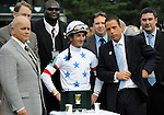 09 October 10: IEAH managing partner Michael Iaverone in the winners' circle after Court Vision, ridden by Robby Albarado and trained by Richard Dutrow Jr., wins the 24th running of the grade 1 Turf Mile Stakes for three year olds and upward at Keeneland in Lexington, Kentucky.