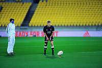 Damien McKenzie practises his goalkicking before the rugby match between North and South at Sky Stadium in Wellington, New Zealand on Saturday, 5 September 2020. Photo: Dave Lintott / lintottphoto.co.nz