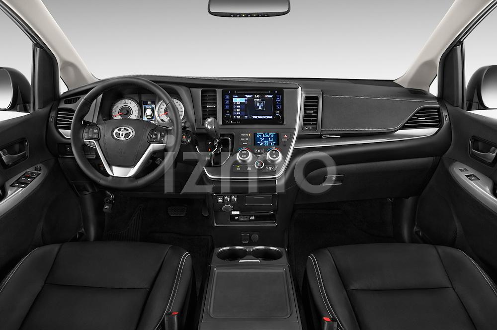 Stock photo of straight dashboard view of 2017 Toyota Sienna SE 5 Door Minivan Dashboard