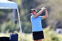 CHAPEL HILL, NC - OCTOBER 11: Mariana Ocano of the University of North Carolina tees off at UNC Finley Golf Course on October 11, 2019 in Chapel Hill, North Carolina.