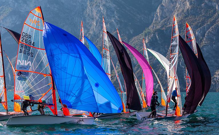 Racing at the 2021 29er European Championship on Lake Garda