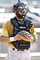 June 24, 2009:  Catcher Tony Sanchez of the State College Spikes during infield-outfield before a game at Eastwood Field in Niles, OH.  The State College Spikes are the NY-Penn League Short Season-A affiliate of the Pittsburgh Pirates.  Photo by:  Mike Janes/Four Seam Images