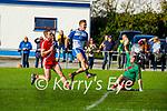Castleisland Desmonds Adam O Donoghue raises the green flag as he puts one past Tomás Mac an tSaoir, An Ghaeltacht keeper in the Intermediate Club football Championship Quarter-Final