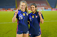 BREDA, NETHERLANDS - NOVEMBER 27: Jaelin Howell #26 and Sophia Smith #11of the United States celebrate they're first senior national team caps during a game between Netherlands and USWNT at Rat Verlegh Stadion on November 27, 2020 in Breda, Netherlands.