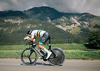 Lucas Plapp (AUS) on his way to a silver medal<br /> <br /> MEN JUNIOR INDIVIDUAL TIME TRIAL<br /> Hall-Wattens to Innsbruck: 27.8 km<br /> <br /> UCI 2018 Road World Championships<br /> Innsbruck - Tirol / Austria
