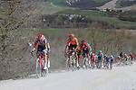 The peloton including Tim Wellens (BEL) Lotto-Soudal, Julian Alaphilippe (FRA) Deceuninck-Quick Step and Greg Van Avermaet (BEL) CCC Team give chase on sector 8 Monte Santa Maria during Strade Bianche 2019 running 184km from Siena to Siena, held over the white gravel roads of Tuscany, Italy. 9th March 2019.<br /> Picture: Seamus Yore   Cyclefile<br /> <br /> <br /> All photos usage must carry mandatory copyright credit (© Cyclefile   Seamus Yore)