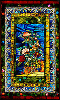 Stained glass: Peonies Blown in the Wind - by John La Farge, 1880