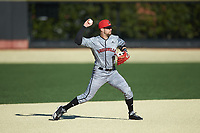 Louisville Cardinals shortstop Justin Lavey (16) makes a throw to first base against the Wake Forest Demon Deacons at David F. Couch Ballpark on March 7, 2020 in  Winston-Salem, North Carolina. The Demon Deacons defeated the Cardinals 3-2. (Brian Westerholt/Four Seam Images)