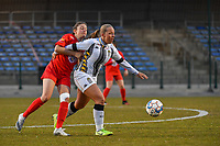 Kenza Vrithof (9) of Woluwe and Megane Vos (20) of Charleroi pictured during a female soccer game between FC Femina White Star Woluwe and Sporting Charleroi on the 2nd matchday of Play off 2 in  the 2020 - 2021 season of Belgian Scooore Womens Super League , friday 16 th of April 2021  in Woluwe , Belgium . PHOTO SPORTPIX.BE   SPP   STIJN AUDOOREN