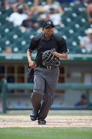 Home plate umpire Erich Bacchus in action during the International League game between the Durham Bulls and the Charlotte Knights at BB&T BallPark on May 27, 2019 in Charlotte, North Carolina. The Bulls defeated the Knights 10-0. (Brian Westerholt/Four Seam Images)