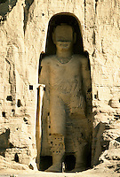 The Bamiyan Buddha of 54 m high in 1995..These magnificent colossal statues, created during the 3rdâ4th centuries A.D., attracted pilgrims for centuries, far beyond the time when Buddhism languished in India following the disastrous visitation of the Hephthalite Huns in the 5th century, the subsequent resurgence of Hinduism, and the arrival of iconoclastic Islam in the 7th century..The entire niche was once covered with paintings dating from i he late 5th to the early 7th centuries.