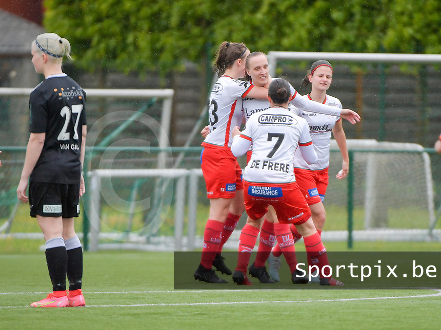 Geena Lisa Buyle (13) of Zulte-Warege, Ulrike De Frere (7) of Zulte-Waregem  and Amber De Priester (6) of Zulte-Waregem(R) congratulate Ella Vierendeels (4) of Zulte-Waregem (M) for her goal from penalty  during a female soccer game between SV Zulte - Waregem and Eendracht Aalst on the 9 th matchday in play off 2 of the 2020 - 2021 season of Belgian Scooore Womens Super League , saturday 22 nd of May 2021  in Zulte , Belgium . PHOTO SPORTPIX.BE | SPP | DIRK VUYLSTEKE