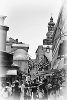 A view of shopping on the Rialto Bridge in Venice in black and white.