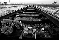 Auschwitz / Poland 2011.Flowers and memorial candles burn on the railroad tracks leading to the entrance gate at Birkenau, part of Auschwitz-Birkenau, the largest Nazi extermination camp in operation during World War II. An estimated 1,000,000 to 2,500,000 prisoners died while held at the camp..Photo Livio Senigalliesi