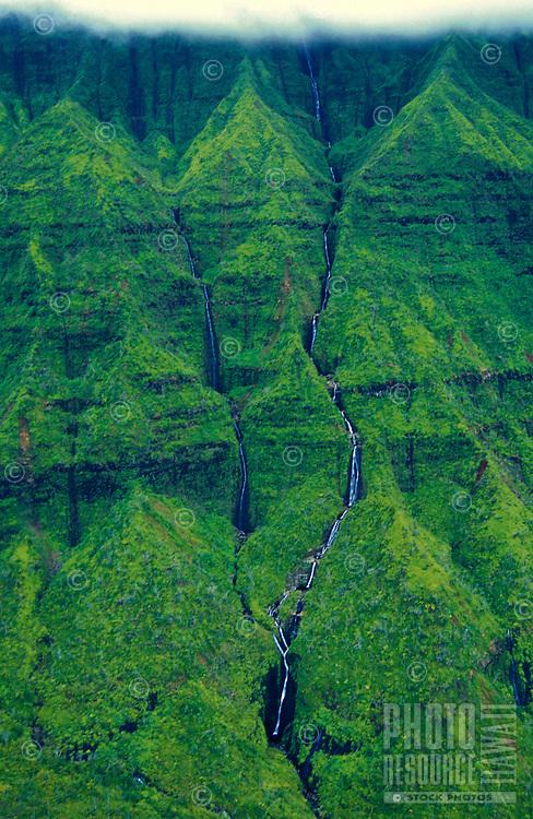 Aerial of waterfalls near Hanalei on the north shore of Kauai