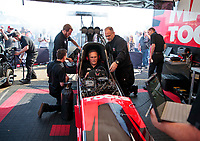 Feb 7, 2020; Pomona, CA, USA; Crew members for NHRA top fuel driver Doug Kalitta during qualifying for the Winternationals at Auto Club Raceway at Pomona. Mandatory Credit: Mark J. Rebilas-USA TODAY Sports