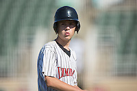 Kannapolis Intimidators bat boy Allan Westerholt at work during the game against the Greensboro Grasshoppers at Intimidators Stadium on July 17, 2016 in Greensboro, North Carolina.  The Intimidators defeated the Grasshoppers 3-2 in game one of a double-header.  (Brian Westerholt/Four Seam Images)