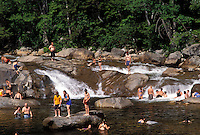 NH, New Hampshire, White Mountain National Forest, People swimming at a swimming hole on the Swift River along the Scenic Kancamagus Highway in the White Mountain Nat'l Forest.