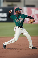 Greensboro Grasshoppers shortstop Liover Peguero (10) on defense against the Winston-Salem Dash at First National Bank Field on June 3, 2021 in Greensboro, North Carolina. (Brian Westerholt/Four Seam Images)