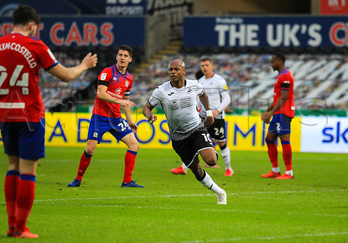31st October 2020; Liberty Stadium, Swansea, Glamorgan, Wales; English Football League Championship Football, Swansea City versus Blackburn Rovers; Andre Ayew of Swansea City celebrates after scoring his sides second goal in the 61st minute