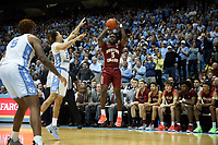 CHAPEL HILL, NC - FEBRUARY 1: Jay Heath #5 of Boston College shoots the ball during a game between Boston College and North Carolina at Dean E. Smith Center on February 1, 2020 in Chapel Hill, North Carolina.
