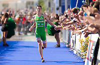 16 SEP 2012 - NICE, FRA - Jonathan Brownlee of EC Sartrouville wins the final stage of the French Grand Prix triathlon series held during the Triathlon de Nice Côte d'Azur .(PHOTO (C) 2012 NIGEL FARROW)