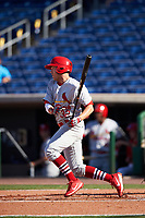 Palm Beach Cardinals second baseman Luke Dykstra (32) at bat during the first game of a doubleheader against the Clearwater Threshers on April 13, 2017 at Spectrum Field in Clearwater, Florida.  Clearwater defeated Palm Beach 1-0.  (Mike Janes/Four Seam Images)