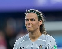 GRENOBLE, FRANCE - JUNE 18: Lydia Williams #1 of the Australian National Team during a game between Jamaica and Australia at Stade des Alpes on June 18, 2019 in Grenoble, France.