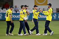 Hampshire players celebrate the run out of Sam Cook during Essex Eagles vs Hampshire Hawks, Vitality Blast T20 Cricket at The Cloudfm County Ground on 11th June 2021