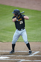 Robbie Young (28) of the Appalachian State Mountaineers at bat against the Charlotte 49ers at Atrium Health Ballpark on March 23, 2021 in Kannapolis, North Carolina. (Brian Westerholt/Four Seam Images)