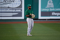 Beloit Snappers left fielder Logan Farrar (2) during a Midwest League game against the Lansing Lugnuts at Cooley Law School Stadium on May 4, 2019 in Lansing, Michigan. Beloit defeated Lansing 2-1. (Zachary Lucy/Four Seam Images)