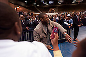 Orangeburg, South Carolina.January 22, 2008 ..Singer Usher Raymond enters a rally in supporter of Presidential hopeful Sen. Barack Obama (D-IL) at South Carolina State University. Obama is campaigning through the state ahead of its Democratic primary on January 26. .