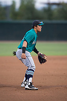 AZL Mariners third baseman Nolan Perez (38) during an Arizona League game against the AZL White Sox at Camelback Ranch on July 8, 2018 in Glendale, Arizona. The AZL White Sox defeated the AZL Mariners 8-5. (Zachary Lucy/Four Seam Images)