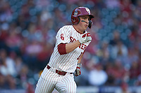Tanner Tredaway (10) of the Oklahoma Sooners hustles down the first base line against the Arkansas Razorbacks in game two of the 2020 Shriners Hospitals for Children College Classic at Minute Maid Park on February 28, 2020 in Houston, Texas. The Sooners defeated the Razorbacks 6-3. (Brian Westerholt/Four Seam Images)