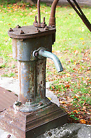 A water pump in the court yard. Chateau de Cerons (Cérons) Sauternes Gironde Aquitaine France