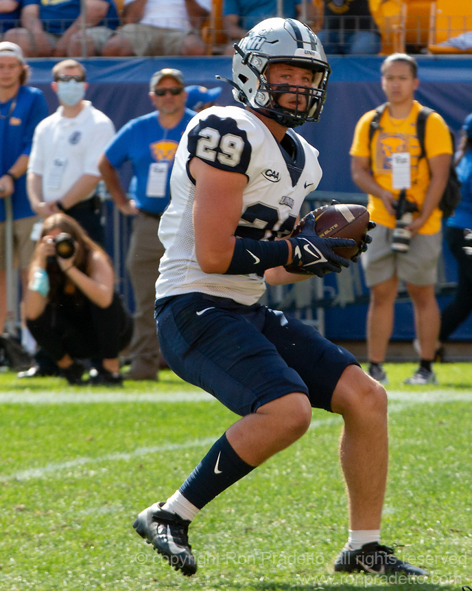 New Hampshire wide receiver Griffin Helm. The Pitt Panthers defeated the New Hampshire Wildcats 77-7 at Heinz Field, Pittsburgh, Pennsylvania on September 25, 2021.