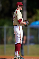 Boston College Eagles starting pitcher Zach Stromberg (40) looks in for the sign during a game against the Central Michigan Chippewas on March 8, 2016 at North Charlotte Regional Park in Port Charlotte, Florida.  Boston College defeated Central Michigan 9-3.  (Mike Janes/Four Seam Images)