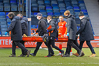 Dan Potts of Luton Town is stretchered off the pitch after getting injured during the Sky Bet Championship match between Luton Town and Swansea City at Kenilworth Road, Luton, England, UK. Saturday 13 March 2021