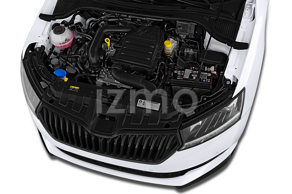 Car Stock 2018 Skoda Fabia Monte-Carlo 5 Door Hatchback Engine  high angle detail view